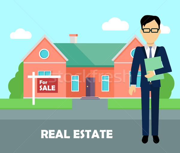 Immobilier courtier travaux bâtiment vente agent immobilier Photo stock © robuart