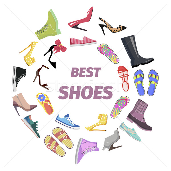 Set of Best Shoes for Man and Woman Flat Design Stock photo © robuart