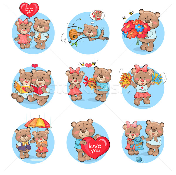 Loving Cartoon Bears Flat Vector Icons Set Stock photo © robuart