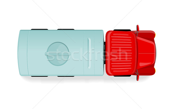 Truck with Tanker Top View Flat Style Vector Icon  Stock photo © robuart