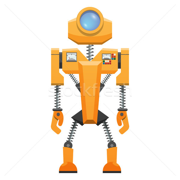 Yellow Robot with Springs on Arms and Legs Vector Stock photo © robuart