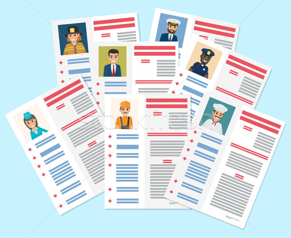 Personal Resumes of Different Industry Workers Stock photo © robuart