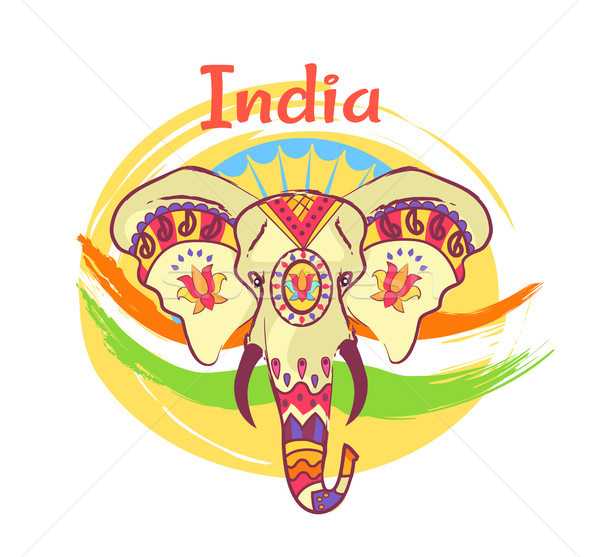 Indian Elephant Head with Bright Ethnic Ornaments Stock photo © robuart