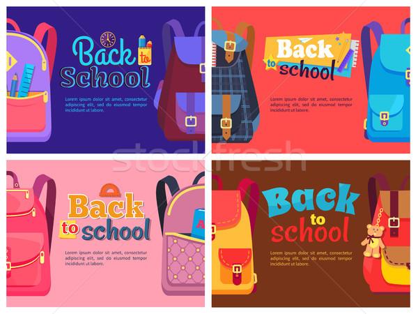 Ninos escuela papelería volver a la escuela carteles establecer Foto stock © robuart