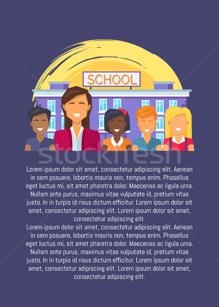 Teacher and Multinational Pupils Opposite School Stock photo © robuart