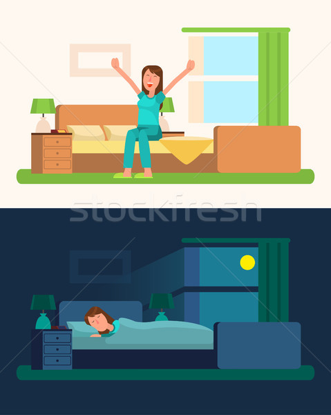 Day and Night Pictures with Girl Vector Illustration Stock photo © robuart