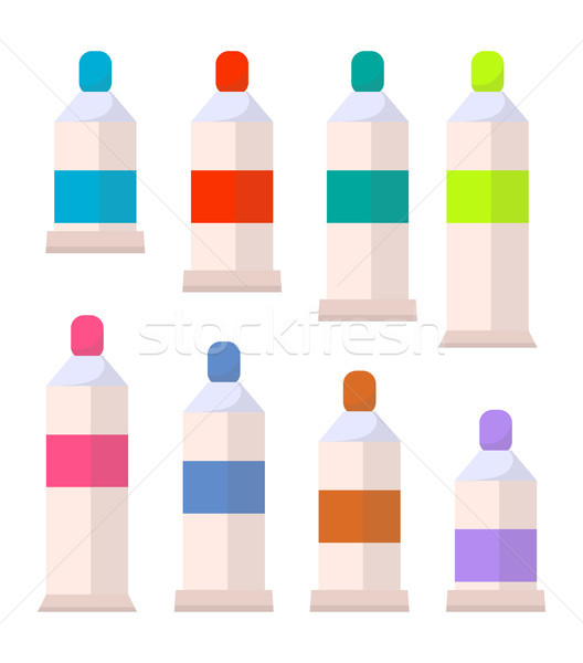 Palette of Acrylic or Gouache Aquarelle Paints Stock photo © robuart