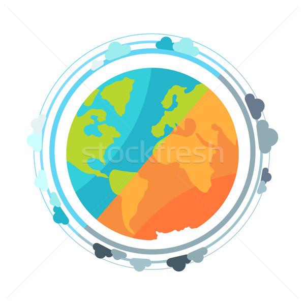 Terra pianeta mondo icona continenti oceani Foto d'archivio © robuart