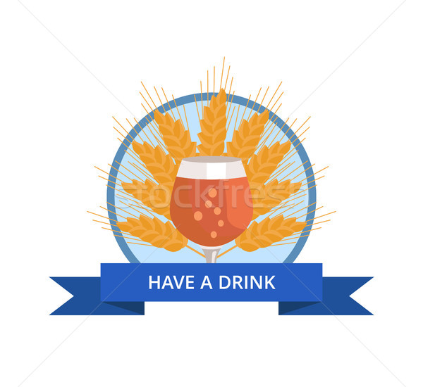 Have Drink Logo with Tulip Glass of Beer on Wheat Stock photo © robuart