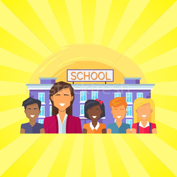 School Building with Pupils Vector Illustration Stock photo © robuart