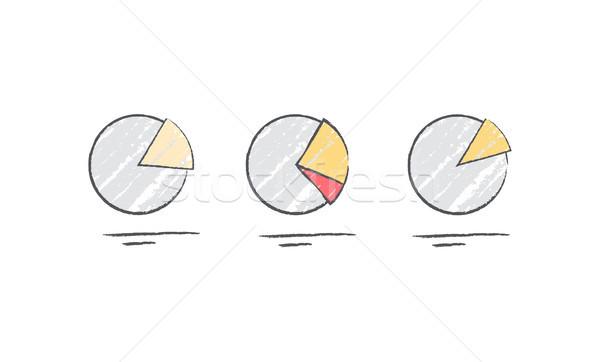 Kördiagram diagram ikonok statisztika izolált fehér Stock fotó © robuart
