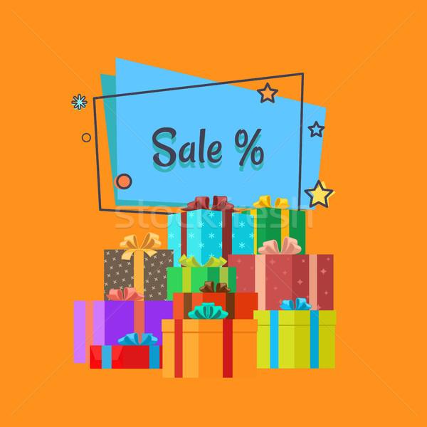 Sale Inscription in Square Bubble and Presents Stock photo © robuart