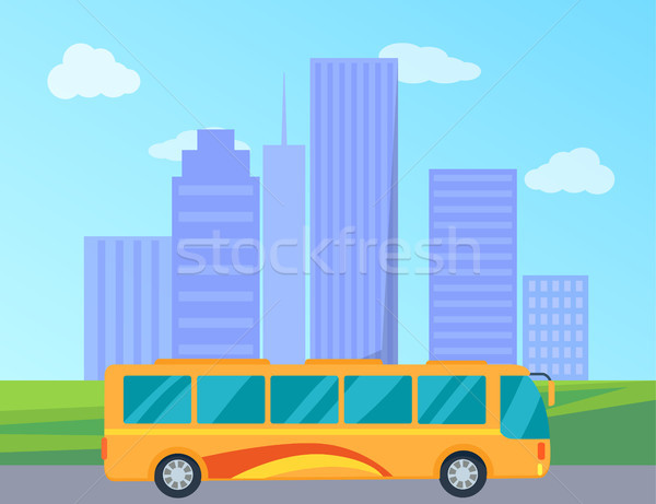 Public Bus in City Colorful Vector Illustration Stock photo © robuart