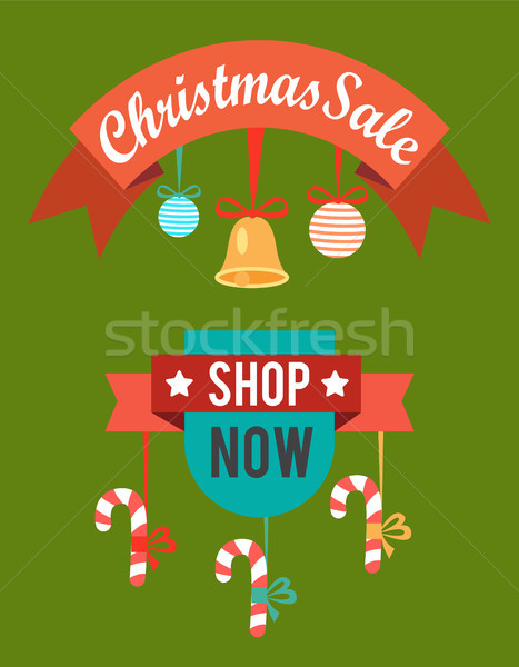 Christmas Sale Shop Now Poster Vector Illustration Stock photo © robuart