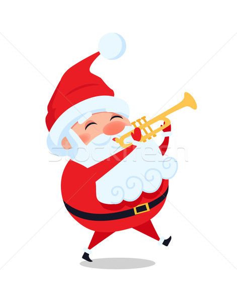 Santa Playing on Trumpet, Cute Christmas Father Stock photo © robuart