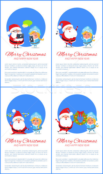 Merry Christmas Banner Santa Claus and Snow Maiden Stock photo © robuart