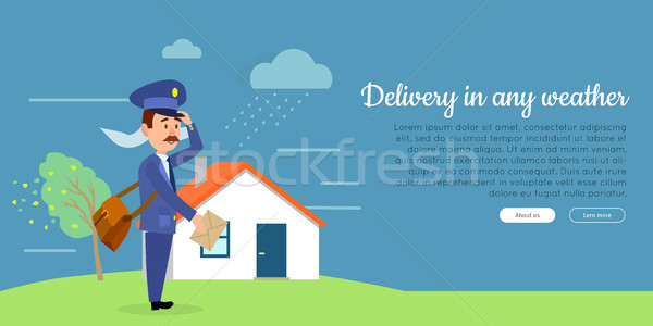 Delivery in any Weather Flat Vector Web Banner  Stock photo © robuart