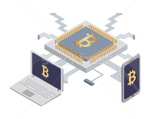 Platform for Mining Bitcoins, Blockchain for Money Stock photo © robuart