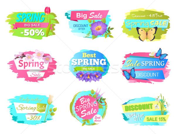 Wiosną sprzedaży promo naklejki wiosna Zdjęcia stock © robuart