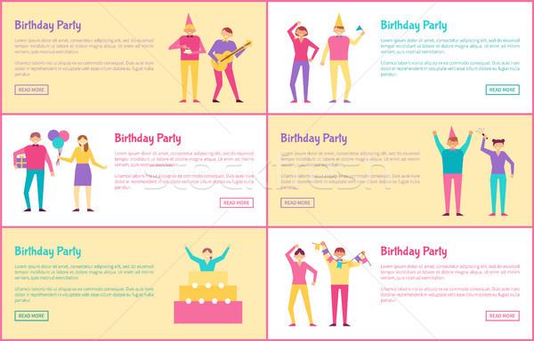 Set festa di compleanno colore testo campione Foto d'archivio © robuart