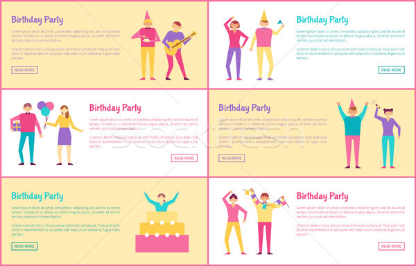 Conjunto festa de aniversário banners cor texto amostra Foto stock © robuart