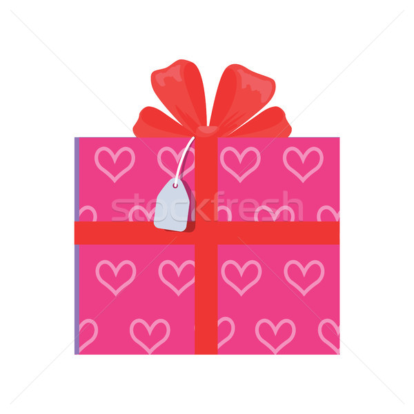 Festive Giftbox wrapped in Paper with Pink Hearts Stock photo © robuart