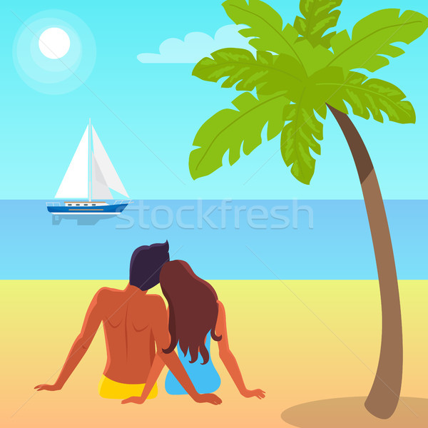 Couple Sits on Sand and Looks at Sailboat on Water Stock photo © robuart