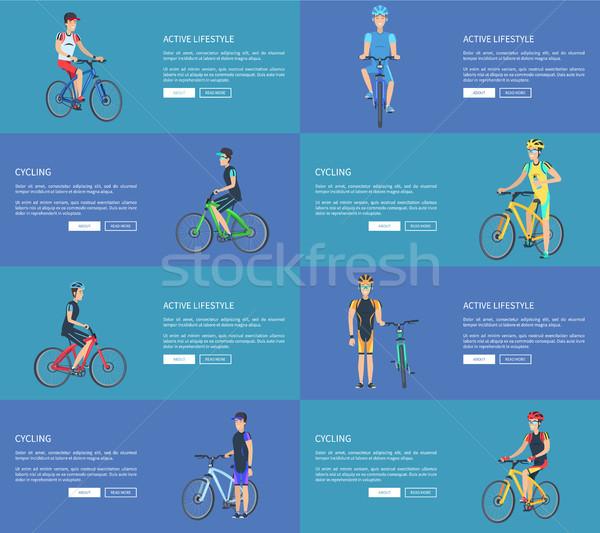 Actief lifestyle posters ingesteld man fiets Stockfoto © robuart