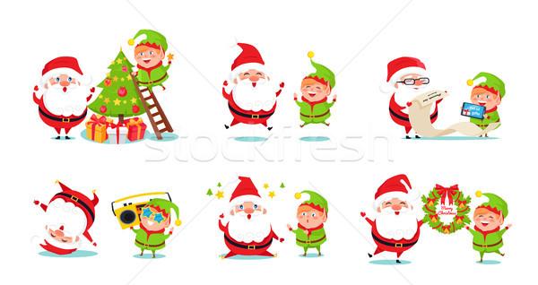 Elf kerstman iconen geïsoleerd witte sprookje Stockfoto © robuart