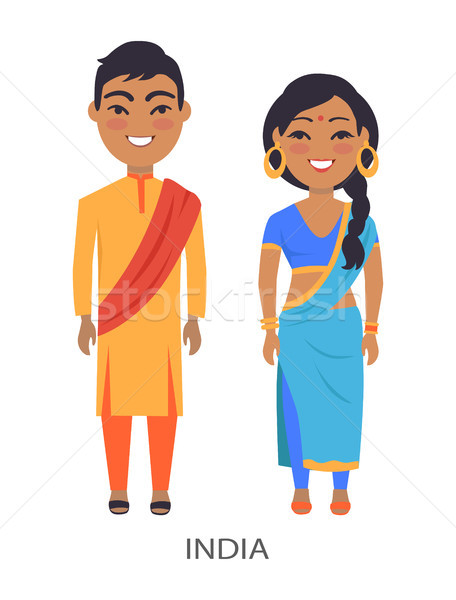India Couple and Traditions Vector Illustration Stock photo © robuart