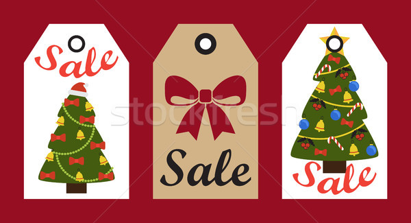 Sale New Year Stickers Set on Vector illustration Stock photo © robuart