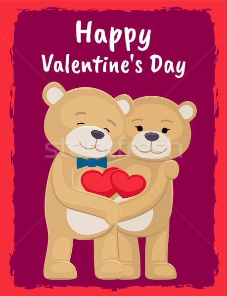 мне плакат Медведи любителей сердцах Сток-фото © robuart