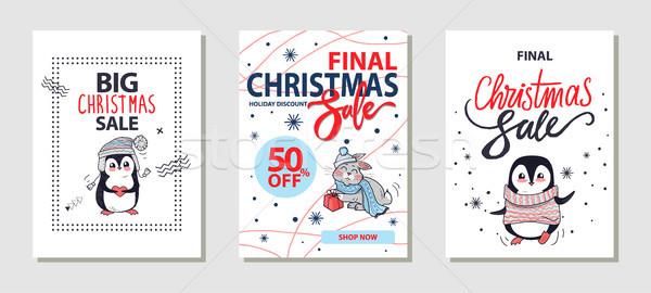 Big Christmas Sale Posters Vector Illustration Stock photo © robuart