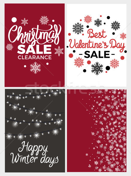Winter Holidays Set Posters Vector Illustration Stock photo © robuart