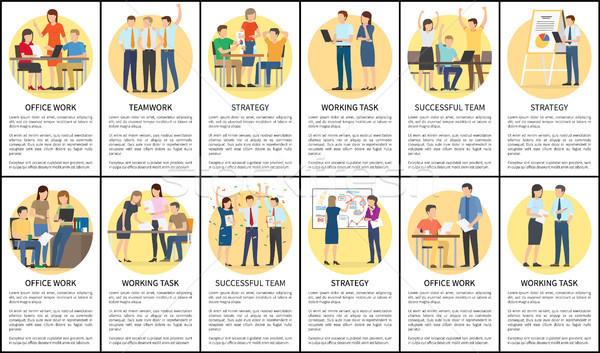 Ofis işleri takım çalışması ayarlamak strateji çalışma görev Stok fotoğraf © robuart
