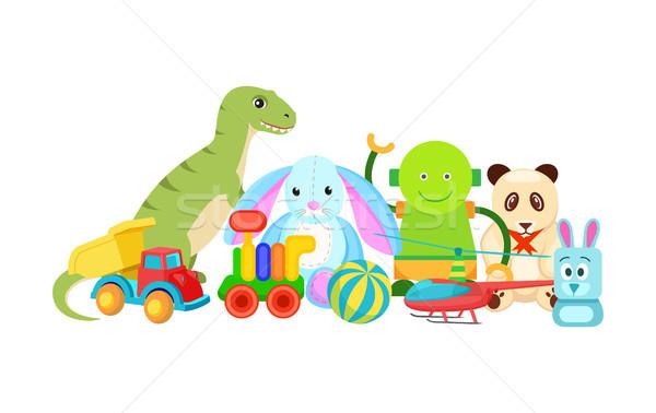 Panda konijn collectie speelgoed kinderen robot Stockfoto © robuart