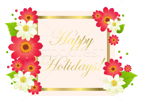 Happy Holiday Postcard with Flowers and Gold Frame Stock photo © robuart