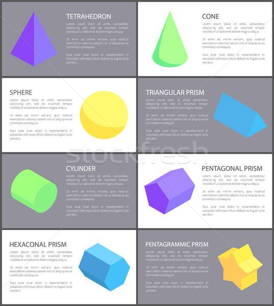 Stożek sferze cylinder geometryczny zestaw tekstury Zdjęcia stock © robuart