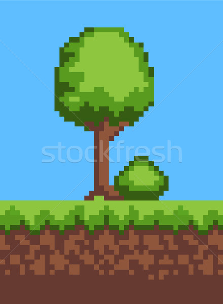 Tree and Grass Ground Object Vector Illustration Stock photo © robuart