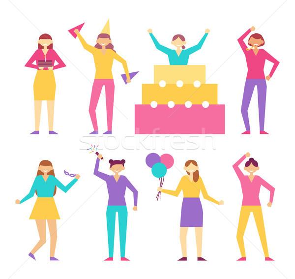 ストックフォト: 誕生日パーティー · コーン · セット · 人