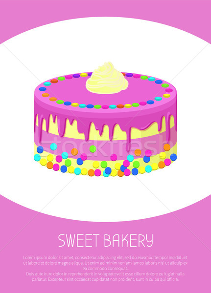 Sweet Bakery Poster with Milk Cake Covered by Jam Stock photo © robuart