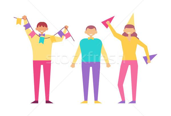 Pessoas felizes festa de aniversário vetor isolado branco desenho animado Foto stock © robuart