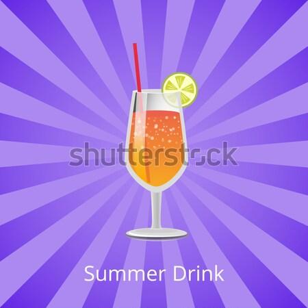 Romantic Drink Vector Illustration Glass Champagne Stock photo © robuart