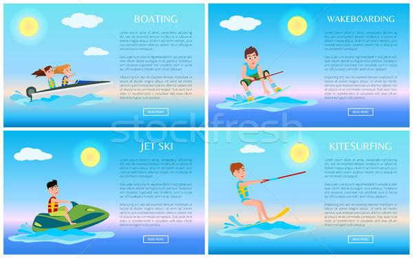 Spelevaren jetski kleurrijk vector illustraties ingesteld Stockfoto © robuart