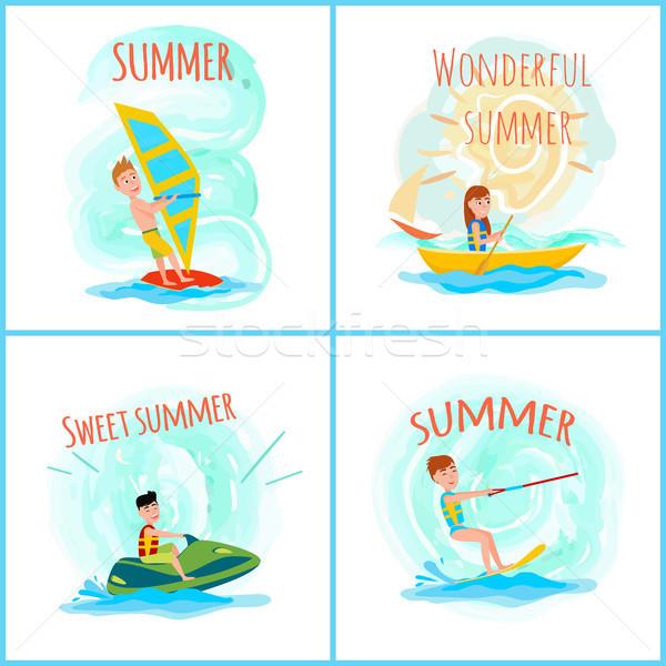 Doce maravilhoso verão cor windsurf esportes Foto stock © robuart