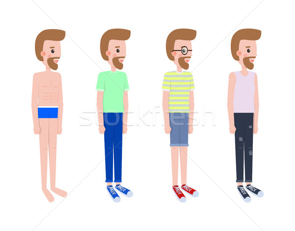 Man Stands in Profile in Casual Summer Outfits Set Stock photo © robuart