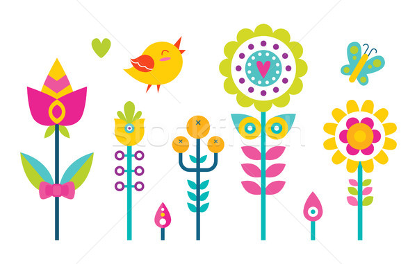 Flowers Set Bird and Butterfly Vector Illustration Stock photo © robuart
