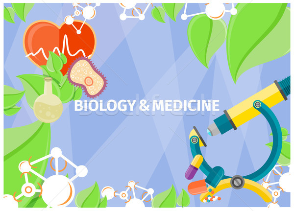 Banner of Biology and Medicine as Natural Sciences Stock photo © robuart