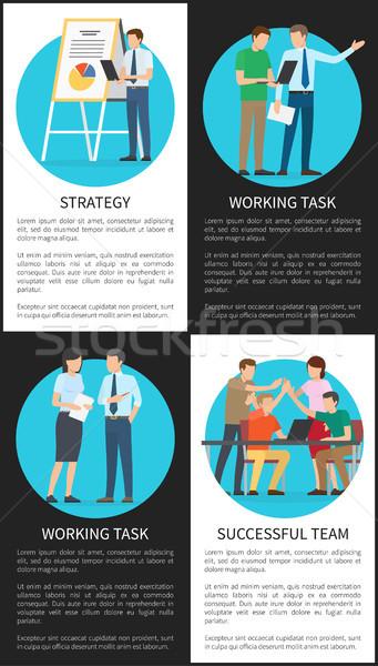 Strategia lavoro compito di successo squadra manifesti Foto d'archivio © robuart