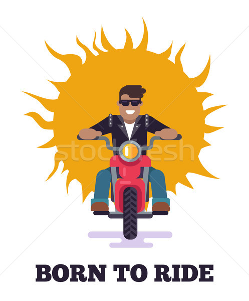 Born to Ride Colorful Poster Vector Illustration Stock photo © robuart